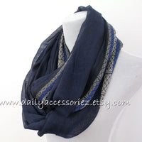 Navy Ethnic Scarf - Bean Concept - Etsy