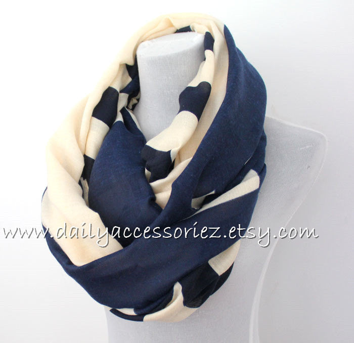 Navy Chunky Scarf with Fringes - Bean Concept - Etsy