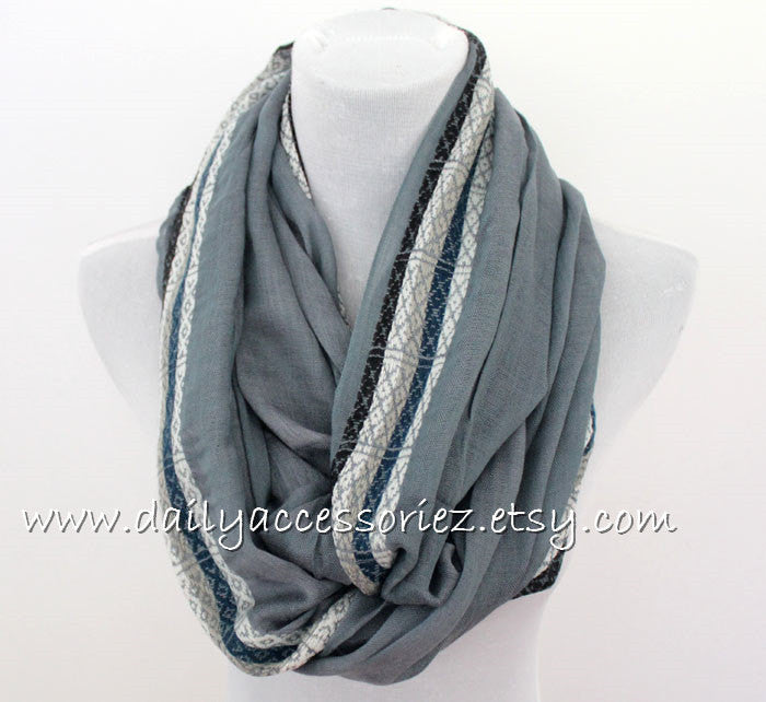 Gray Ethnic Color Block Infinity Scarf - Bean Concept - Etsy