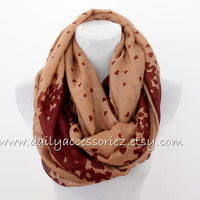 Burgundy Brown Heart Scarf - Bean Concept - Etsy
