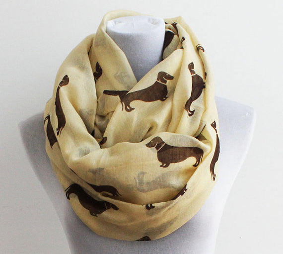 White Dachshunds Dog Infinity Scarf - Bean Concept - Etsy