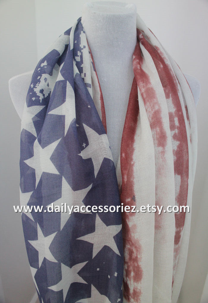 Vintage American Flag Infinity Scarf - Bean Concept - Etsy