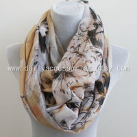 Beige Floral Skull Infinity Scarf - Bean Concept - Etsy