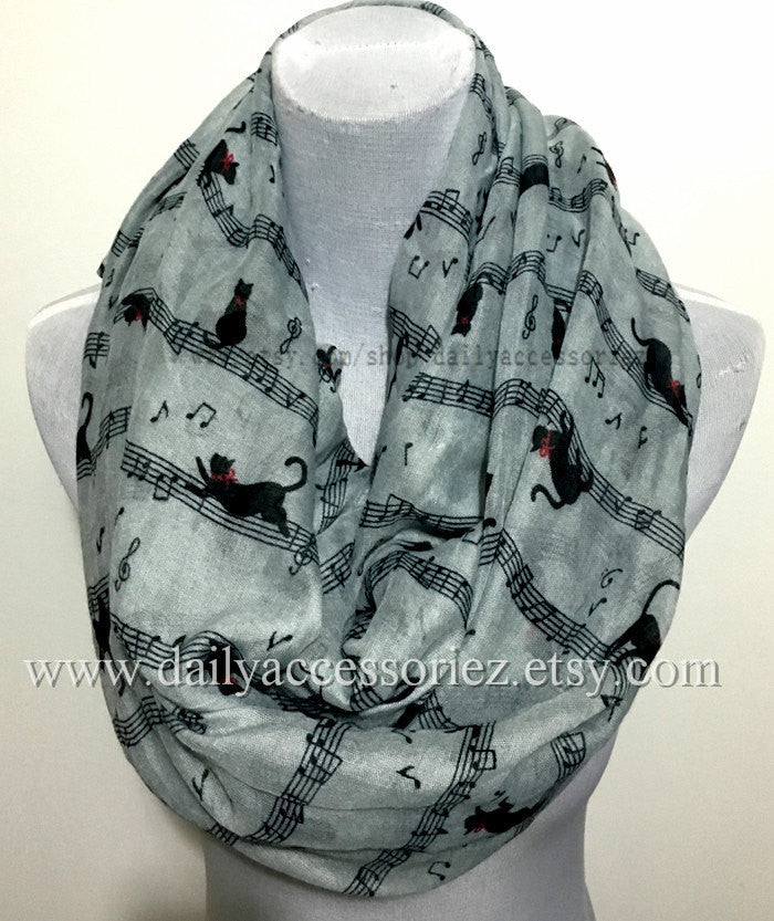 Cat Dance on Music Note Infinity Scarf - Bean Concept - Etsy