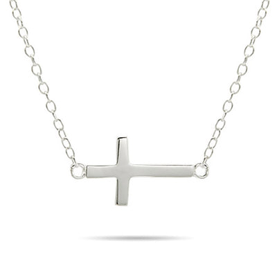Sideways Cross Necklace in Gold or Silver