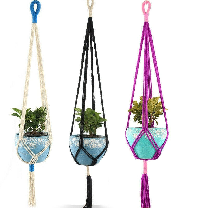 Retro-Macrame Garden Flower Plant Pot Holder - Bean Concept - Etsy