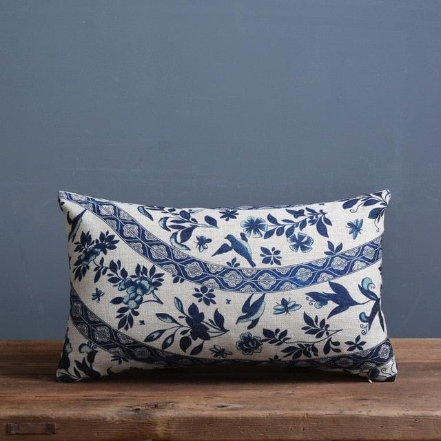 Blue And White Porcelain Printed Cushion Cover - Bean Concept - Etsy
