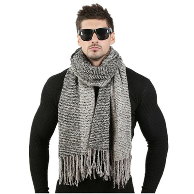 Men Winter Wool Knitted Scarf