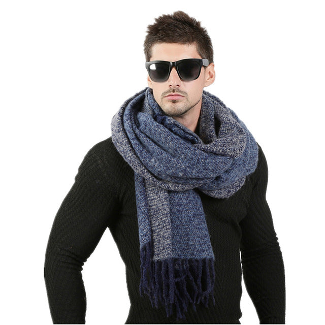 Men Winter Wool Knitted Scarf - Bean Concept - Etsy