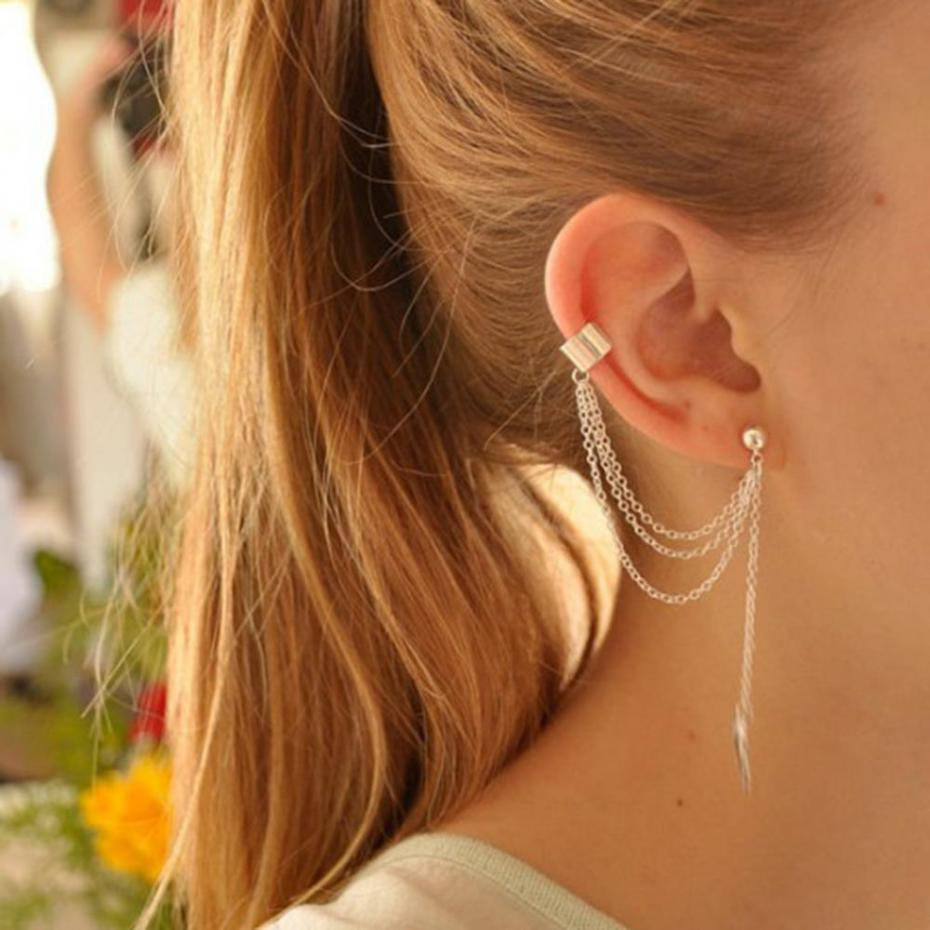 1piece Punk Rock Style Woman Young Gift Leaf Chain Tassel Earrings, Metallic Gold And Silver Jewelry Earrings Ear Clip Wholesale - Bean Concept - Etsy