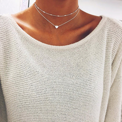 Simple Layered Heart Necklace