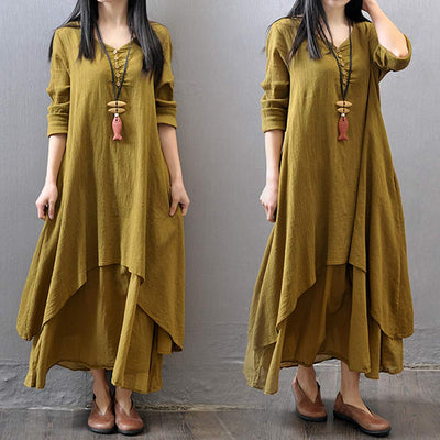 Cotton Linen Maxi Dress