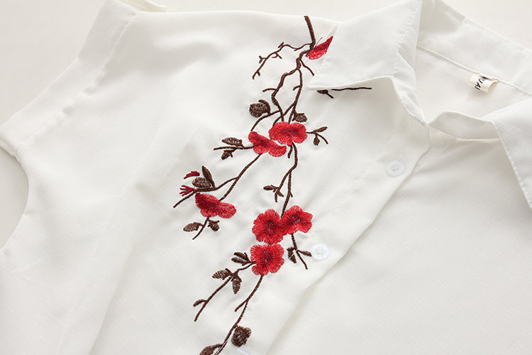 Embroidery White Top Blouse - Bean Concept - Etsy