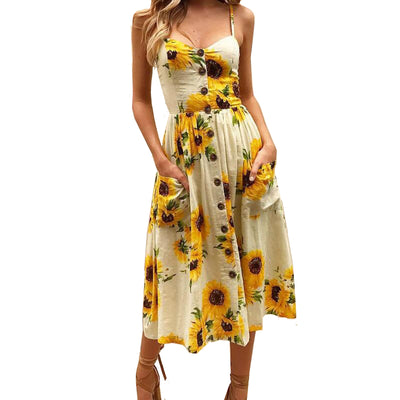 Sunflower Beach Summer Dress