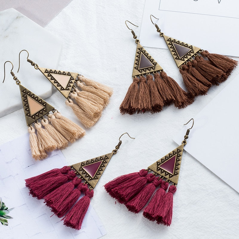 Bohemian Tassel Statement Earrings - Bean Concept - Etsy