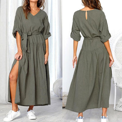 Long Sleeve V Neck Split Solid Color Dress