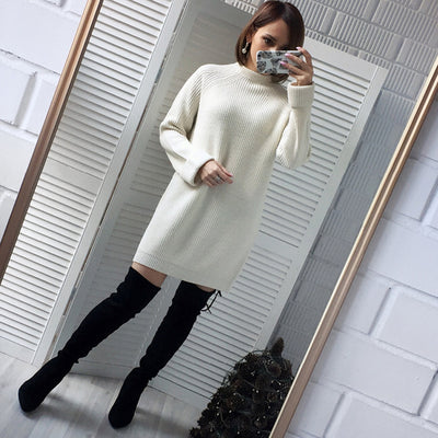 Winter Solid Knitted Cotton Sweater Dress