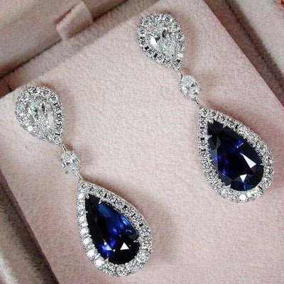Blue Crystal Pendant Wedding Earrings - Bean Concept - Etsy