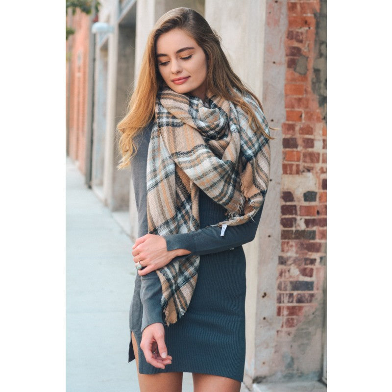 Yellow Gray Plaid Blanket Scarf - Bean Concept - Etsy