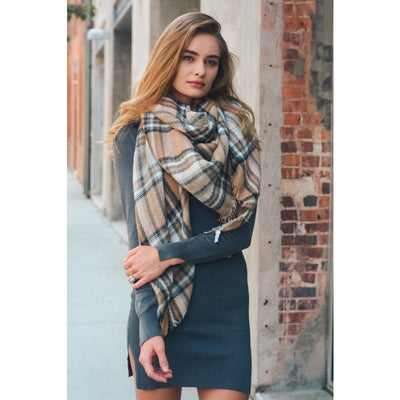 Khaki Brown Plaid Blanket Scarf - Bean Concept - Etsy