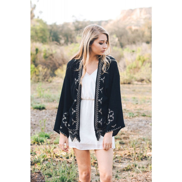 Black Embroidered Border Kimono with Lace Trim