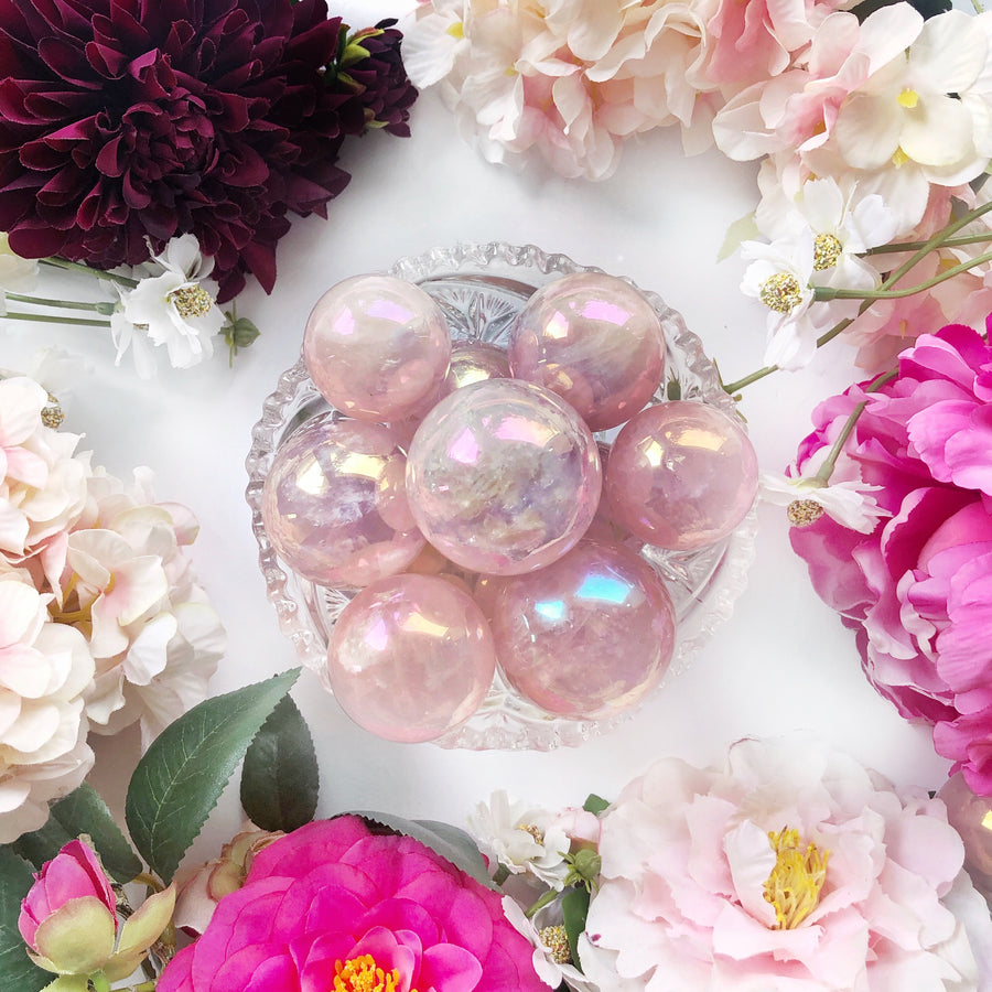 Aura Rose Quartz Sphere - The Quirky Cup Collective