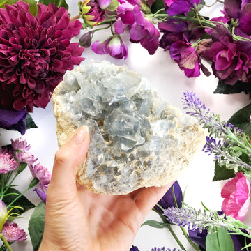 Aura Celestite Cluster - The Quirky Cup Collective