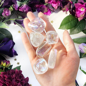 Aura Quartz Rainbow Tumbled Stones - The Quirky Cup Collective