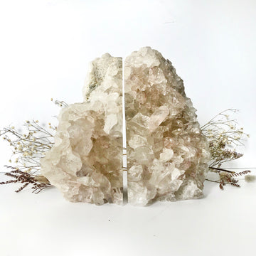 Clear Quartz Cluster Bookend Set - The Quirky Cup Collective