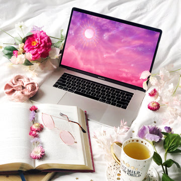 Cotton Candy Skies Laptop & Desktop Digital Wallpaper - The Quirky Cup Collective