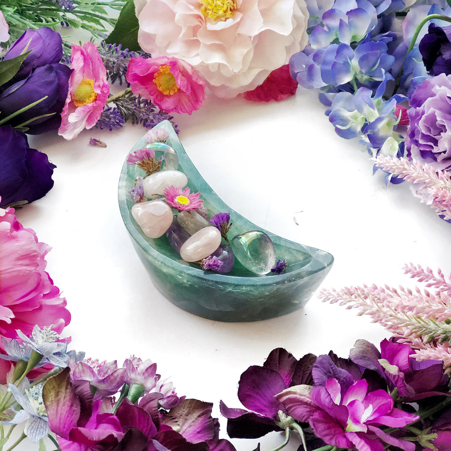 Green Fluorite Crescent Moon Bowls - The Quirky Cup Collective