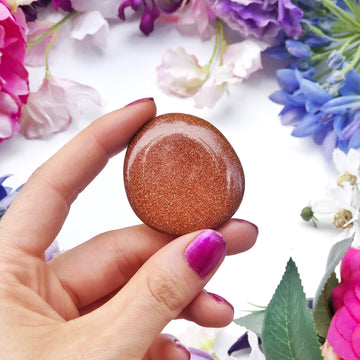 Gold Goldstone Worry Stone - The Quirky Cup Collective