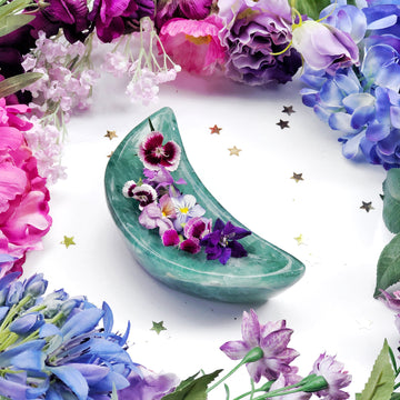 Green Fluorite Crescent Moon Crystal Bowl - The Quirky Cup Collective