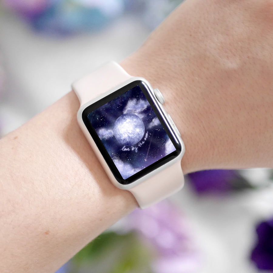 Love By The Moon Apple Watch Digital Wallpaper - The Quirky Cup Collective