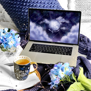 Love By The Moon Laptop & Desktop Digital Wallpaper - The Quirky Cup Collective