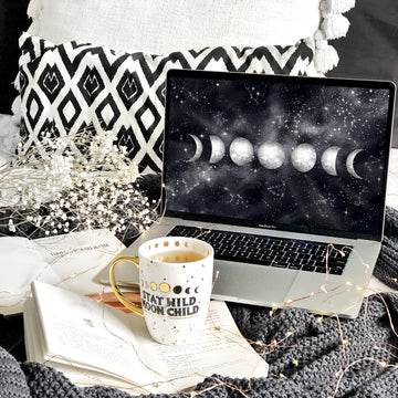 Moon Phases Laptop & Desktop Digital Wallpaper - The Quirky Cup Collective