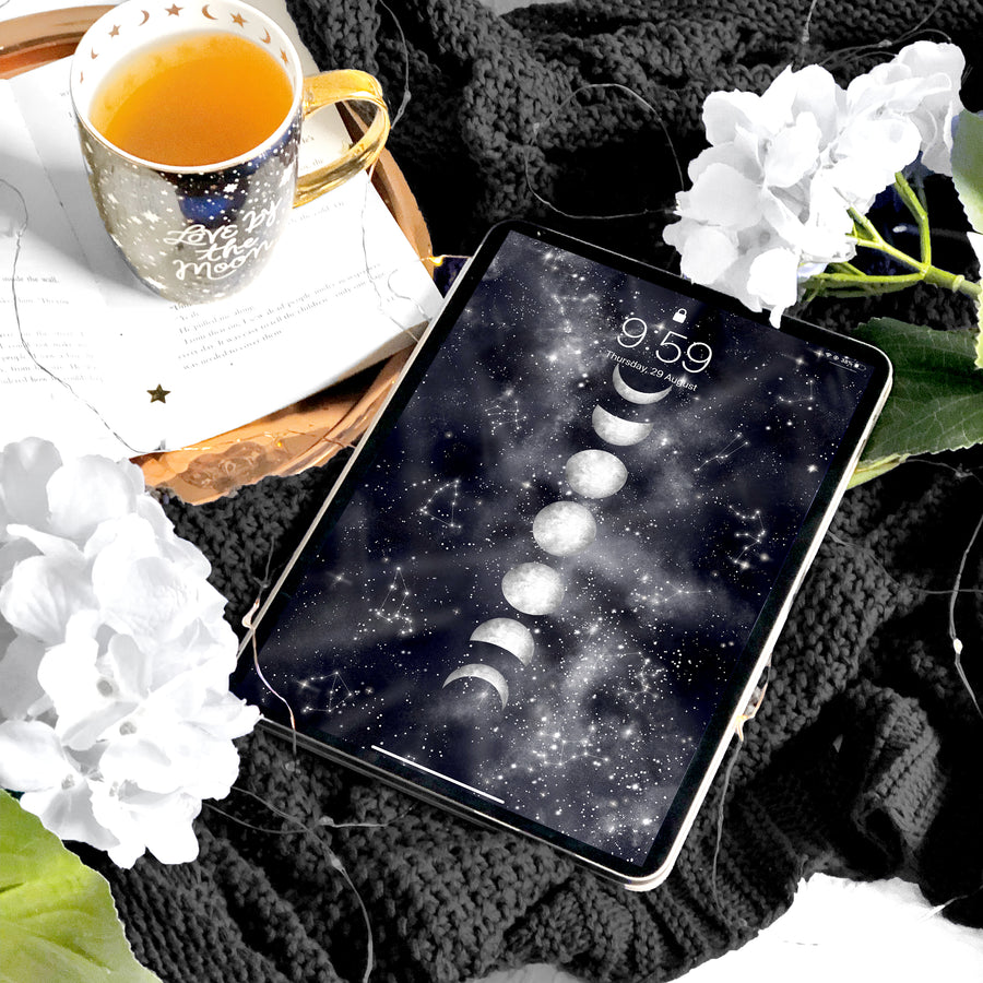 Moon Phases iPad Digital Wallpaper - The Quirky Cup Collective