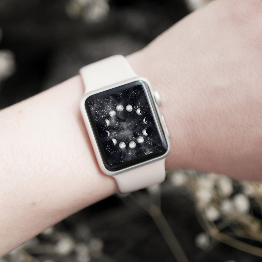 Moon Phases Apple Watch Digital Wallpaper - The Quirky Cup Collective
