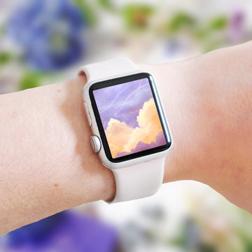 Peachy Keen Clouds Apple Watch Digital Wallpaper - The Quirky Cup Collective