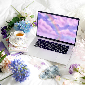 Rainbow Skies Laptop & Desktop Digital Wallpaper - The Quirky Cup Collective