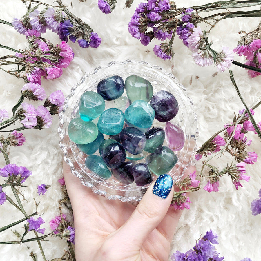 Rainbow Fluorite Tumbled Stones - The Quirky Cup Collective