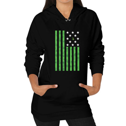 Cannabis Flag Hoodie (on woman) Black Kushvana