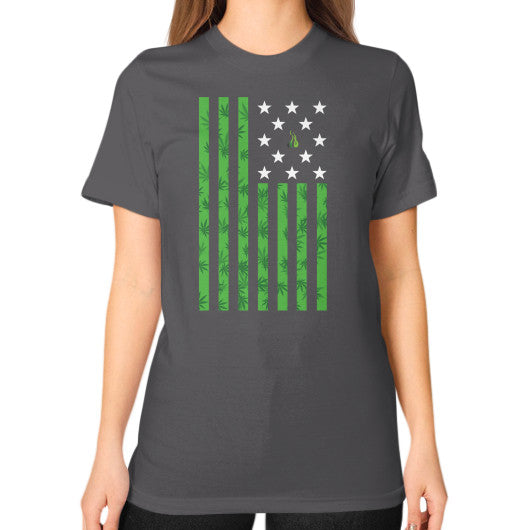 Cannabis Flag Unisex T-Shirt (on woman) Asphalt Kushvana