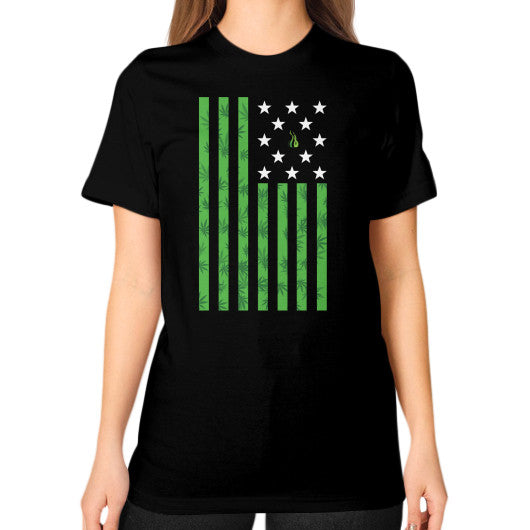 Cannabis Flag Unisex T-Shirt (on woman) Black Kushvana