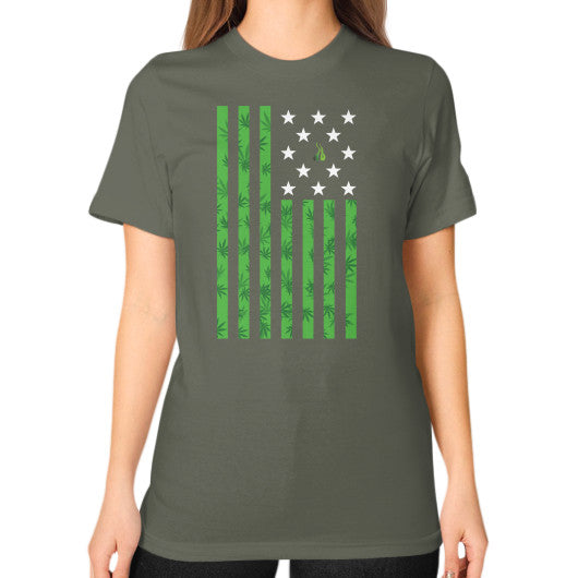 Cannabis Flag Unisex T-Shirt (on woman) Lieutenant Kushvana
