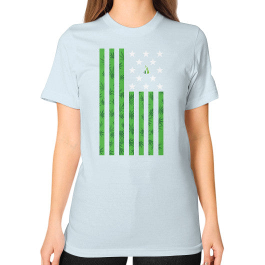 Cannabis Flag Unisex T-Shirt (on woman) Light blue Kushvana