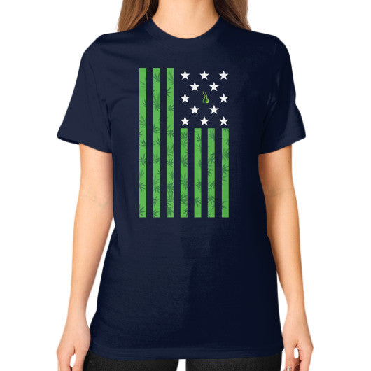 Cannabis Flag Unisex T-Shirt (on woman) Navy Kushvana
