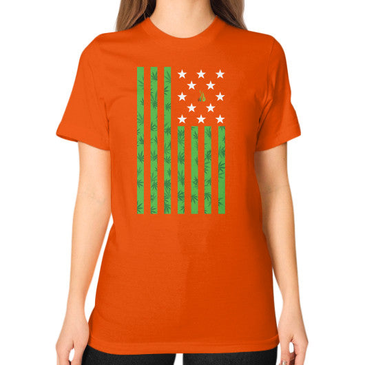 Cannabis Flag Unisex T-Shirt (on woman) Orange Kushvana