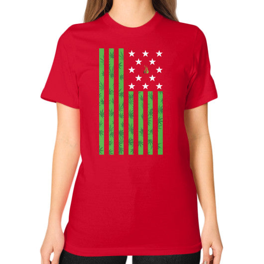 Cannabis Flag Unisex T-Shirt (on woman) Red Kushvana