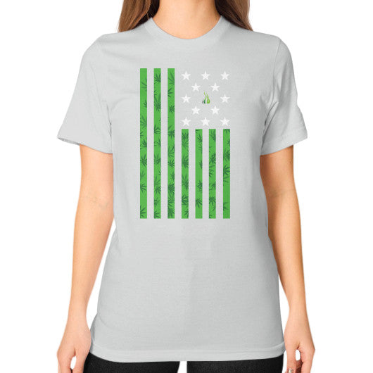 Cannabis Flag Unisex T-Shirt (on woman) Silver Kushvana